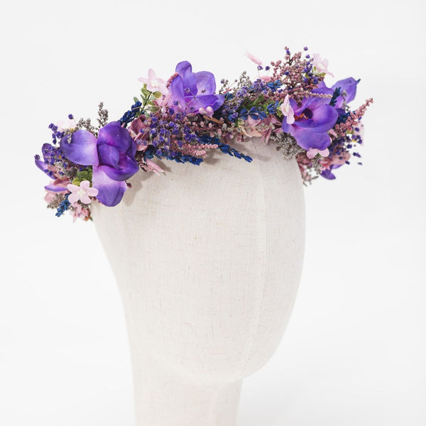 Purple flower half wreath Bridal freesia hair crown Wedding 2021 accessories for bride Magaela Preserved flowers Violet bridal hair flowers