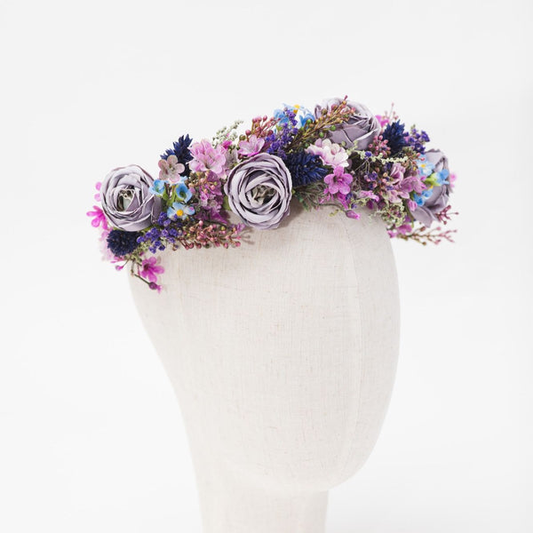 Dusty purple bridal crown Flower half wreath Purple flower headband Bridal hair flowers Violet wedding wreath Magaela Peony half wreath