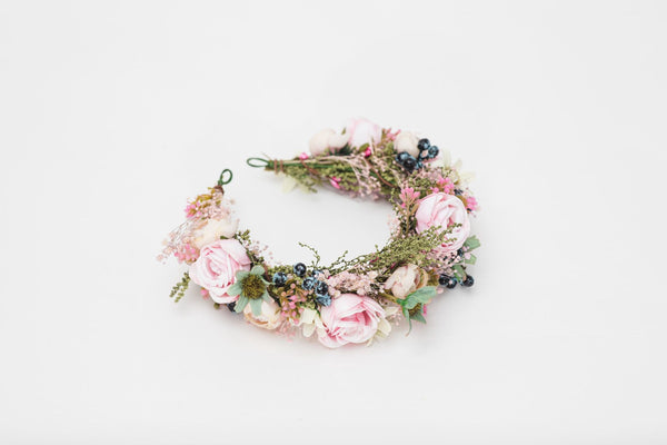 Peony flower wreath Pink bridal half wreath with blueberries Romantic hair crown Bridal half wreath Hair flowers inspo Magaela accessories