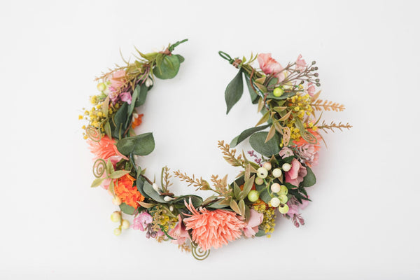 Peach bridal half wreath Flower crown Orange hair flowers Customisable Magaela Wedding accessories Hair jewelry Meadow flower crown Bride