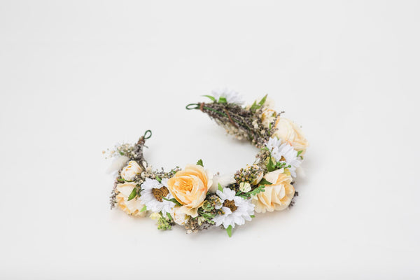 Pastel yellow half wreath White and beige bridal crown Wedding Half wreath 2021 hair flowers Handmade accessories Personalised crown Magaela