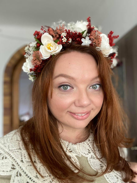 Bridal half wreath Ivory and red flower crown Magaela handmade Bridal hair flowers Hair accessories Bridal inspo Hairstyle Cream half crown