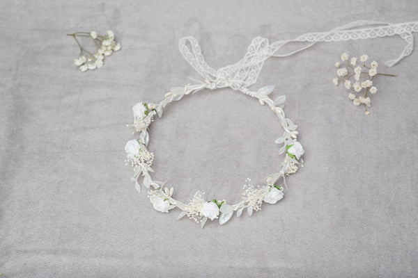 Communion wreath with white roses, Flower crown for girls, Magaela, First holy communion wreath, Jewelry White children wreath, Hair flowers