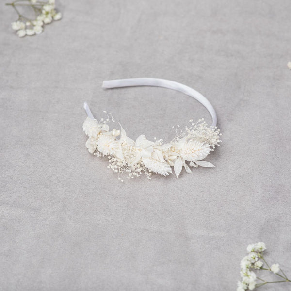 Ivory flower hairband, Communion floral headpiece, Off white communion jewellery, Flower headband for girls, White, Preserved crown, Magaela