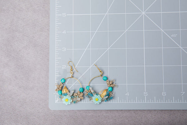 Turquoise flower earrings with beads Bridal Circle floral earrings 2021 Beach Wedding dangle earrings Handmade dried flower jewelry Magaela