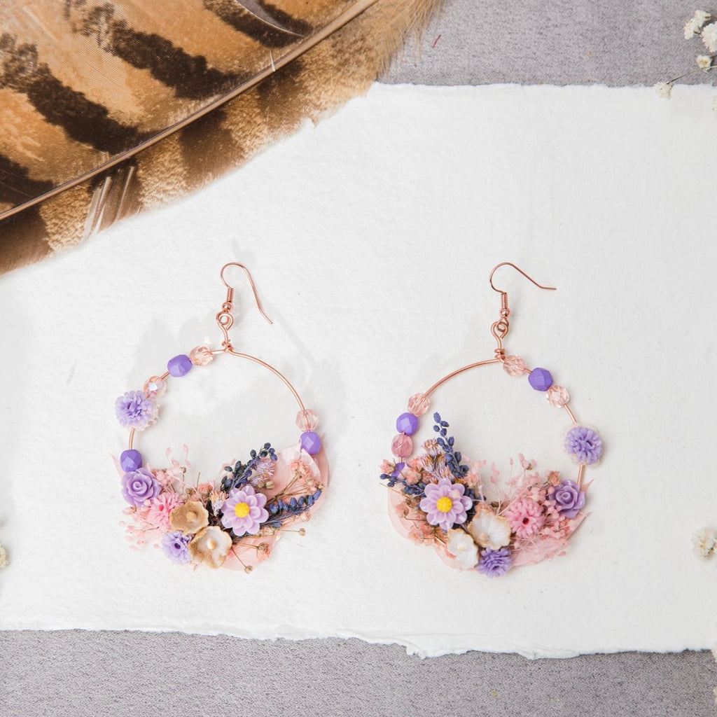 Romantic rose gold flower circle earrings Purple and pink Dangle bridal earrings Wedding 2021 Jewelry Silver Magaela accessories Gold hook