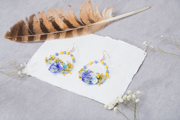 Yellow and blue flower earrings Circle dangle earrings for bride Wedding 2021 Spring jewellery Magaela Rose gold hoops Nickel free Handmade