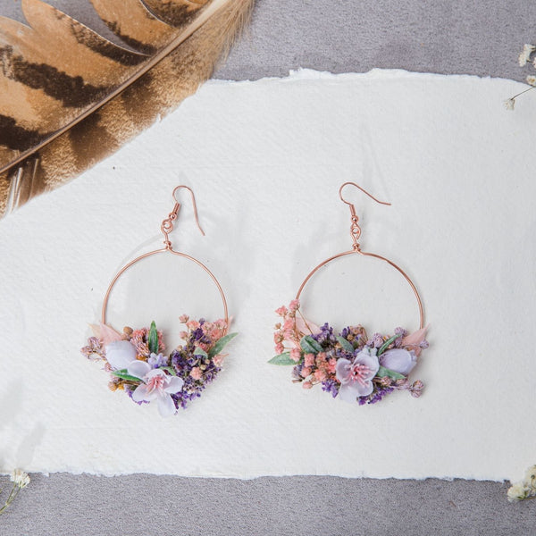 Rose gold flower circle earrings Bridal Hoops Purple and pink Dangle bridal earrings Wedding 2021 Jewelry Silver Magaela accessories Gold