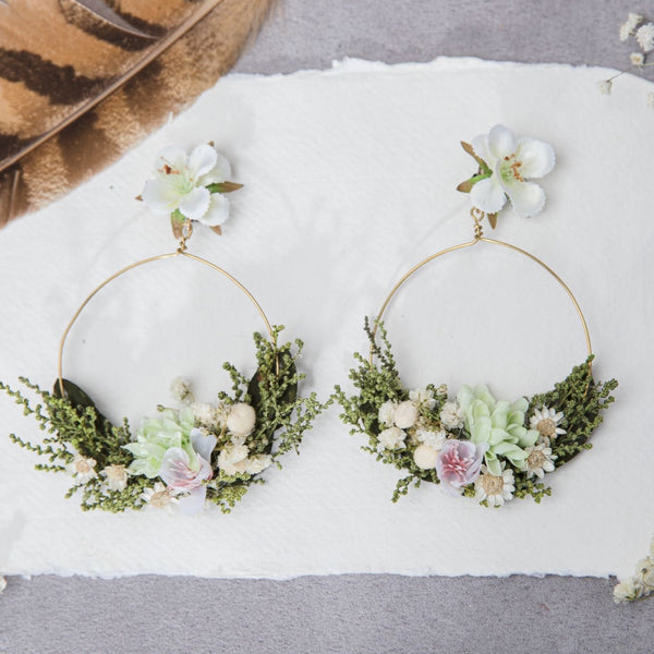 Spring clip on pastel earrings Bridal Circle earrings Hoops Stud earrings for bride Jewelry 2021 Wedding earrings Bridal accessories Magaela