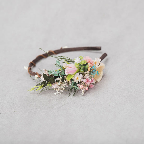 Romantic spring flower headband Wedding 2021 Meadow headband Flower girl Back to school headband Pink bridal flower headpiece Magaela