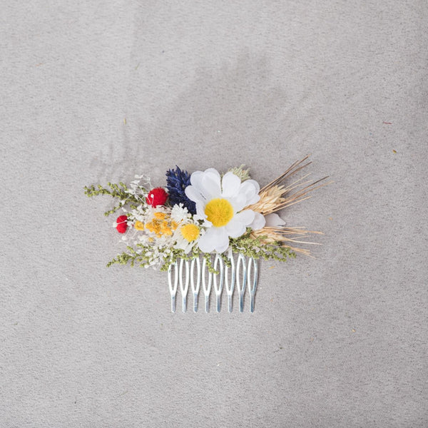 Folk style meadow flower hair comb Daisy hair comb 2021 Wedding headpiece Meadow dried flowers comb Bridal folk comb Magaela Customisable