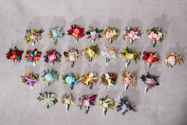 Flower hair clips with sweets Candy hair clip Back to school 1st birthday hair clip Flower Snap clip Little girls clips with animals Magaela