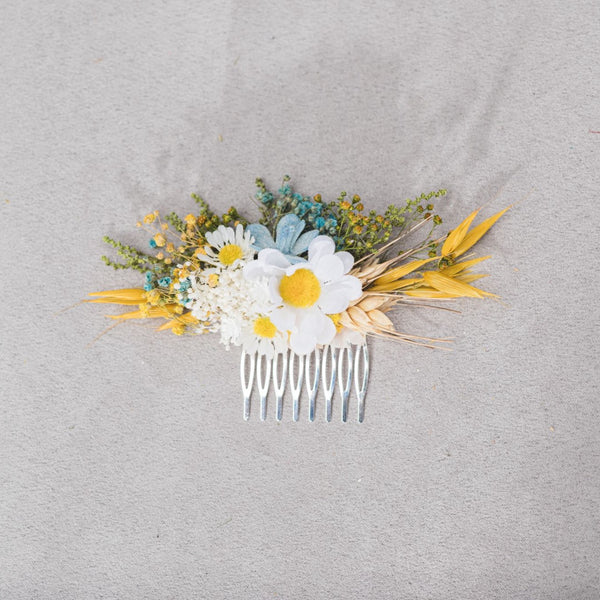 Yellow and white flower hair comb Daisy bridal hair comb Dried flowers Yellow and blue wedding headpiece Meadow flower comb Hair flowers