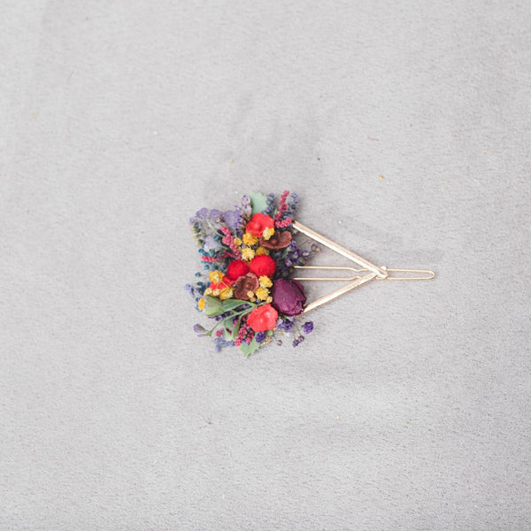 Colourful spring flower hair clip Triangle snap clip Wildflowers bridal clip Summer 2021 Flower girl Hair Accessories Magaela hair jewellery