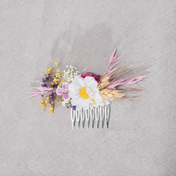 Natural meadow flower hair comb Bridal headpiece with daisy Ear of wheat Wildflowers Wedding hairstyle Daisy Pink Yellow White Magaela