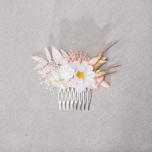 Romantic meadow bridal hair comb Pink and white wedding headpiece 2021 bride Blush flower comb with daisy Hair flowers Natural Magaela