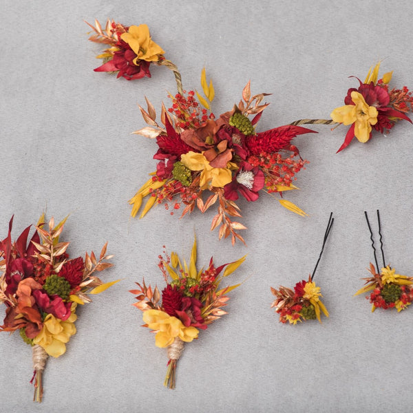 Customised wedding set Flexible hair vine Autumn flower set Bridal accessories Magaela Red and yellow Handmade boutonnieres Customised
