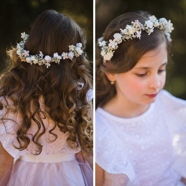 First Communion half wreath 2021 flower headpiece for girl White roses half crown Magaela communion accessories Flower girl hairstyle