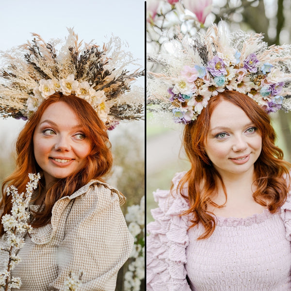 Two-sided flower halo crown Photoshoot met gala crown 2 in 1 Wedding halo crown Double side Pampas grass romantic headband Magaela Preserved crown