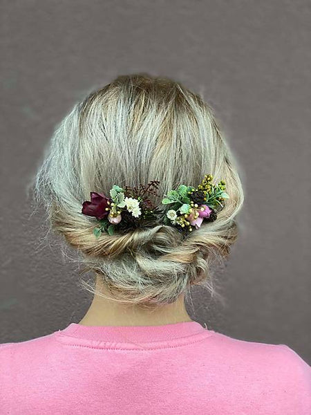 Woodland style flower hair comb Nature Wedding hair comb Mini hair comb Bridal hair fashion accessories Bridesmaids combs