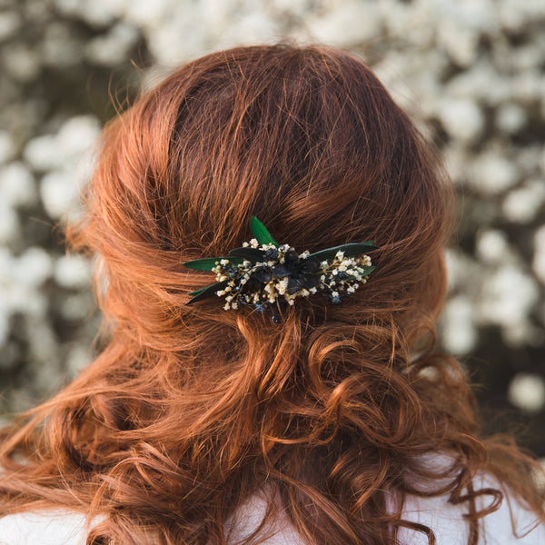 Greenery bridal hair comb Olive leaves Baby's breath flower comb for bride Natural Wedding hair jewellery Greenery hair flowers Magaela