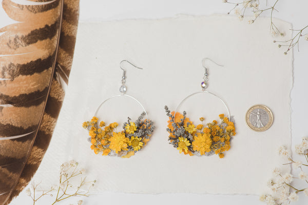 Ochre flower earrings for bride Circle floral earrings Mustard and gray earrings Grey wedding dangle earring Handmade flower jewelry Magaela