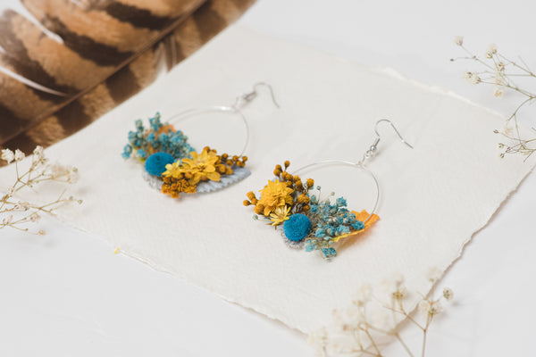 Yellow and blue flower earrings for bride Circle floral earrings Mustard and blue earrings Wedding dangle earrings Handmade dried flower jewelry Magaela
