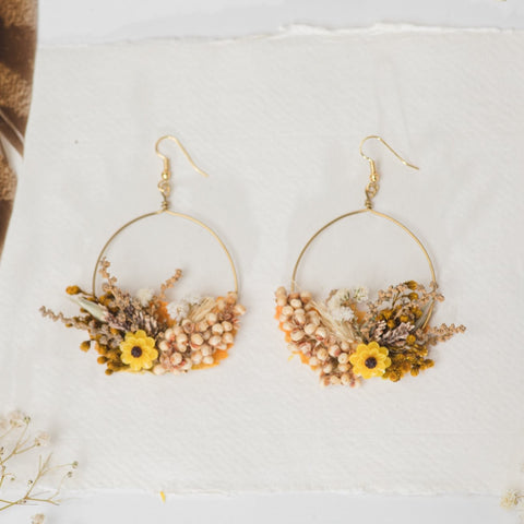 Cabochon earrings yellow tropical sequin enamelled drop summer colors flowers