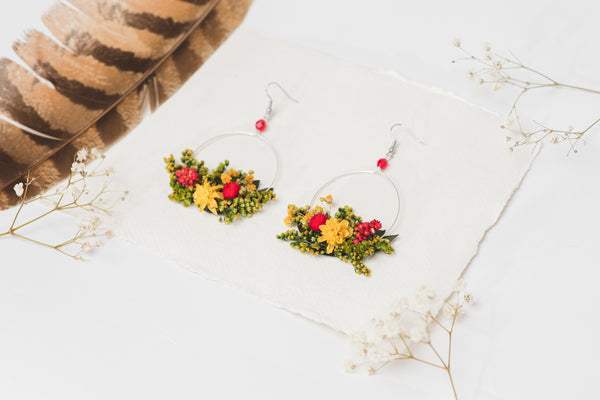 Summer yellow and red flower earrings for bride Circle floral earrings 2021 Wedding dangle earrings Handmade dried flower jewelry Magaela