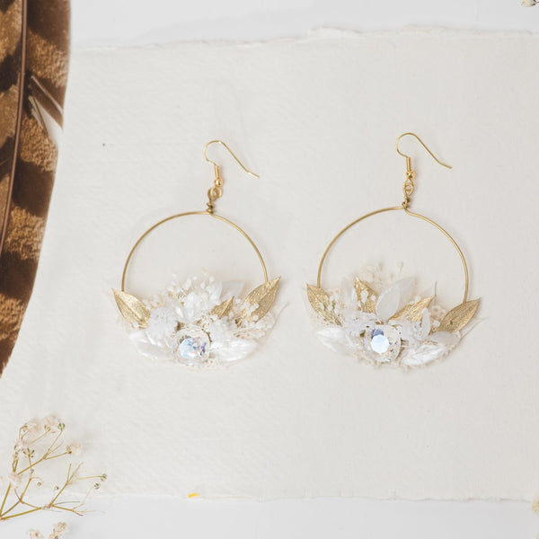 Glamour 2021 wedding white and golden flower earrings Glam Crystals Bridal Circle dangle earrings Handmade dried flower jewelry Magaela