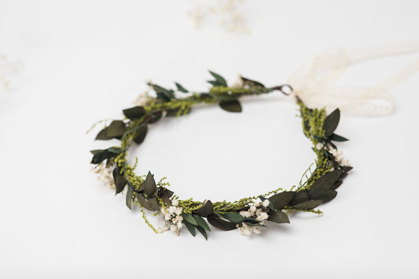 Greenery wedding set Flower wreath Bracelet for bride Small greenery hair comb Baby's breath wedding 2021 bride Handmade Magaela Custom made