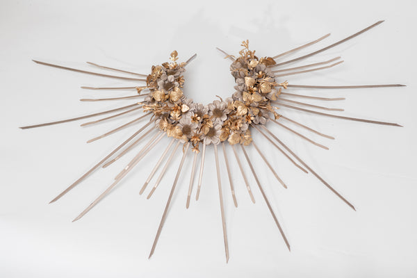 Sunburst Halo Crown, Gold flower halo crown, Sun ray hair crown, Zip tie halo crown, Beyonce spiked crown, Rose gold, Rose copper headpiece
