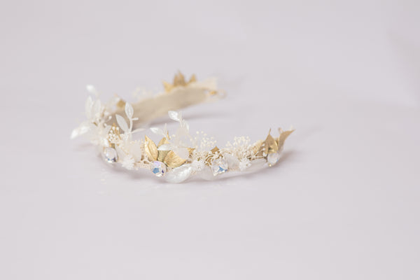 Elegant wedding tiara with crystals Gold and white flower crown Half wreath Wedding 2021 Luxury bride headpiece Handmade Magaela Princess