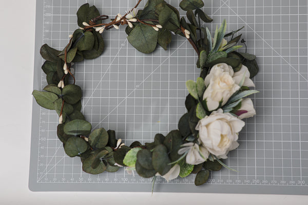 Greenery bridal wreath with flower arrangement at the back Flower crown with eucalyptus Bridal hair wreath 2021 Wedding Magaela accessories