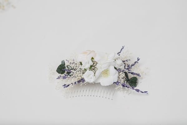 Lavender bridal flower set Hair crown with braids Boutonniere Romantic hair comb White roses Preserved flowers Magaela handmade Foam flowers