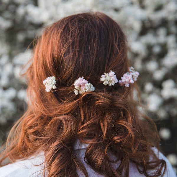 3/5/10pcs Blush and ivory flower hairpins Preserved baby's breath flower hair pins Bridal hairpins 2021 wedding Romantic pink hair flowers
