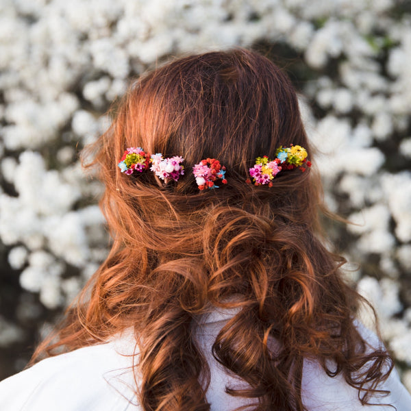 Colourful summer hairpins Preserved Bridal flower hairpins Natural dried flowers Rainbow wedding Bridal hair flowers Magaela Flower jewelry