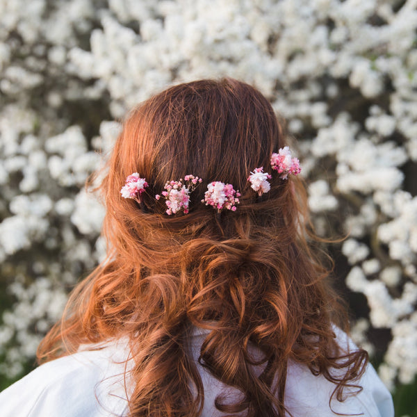 3/5/10pcs Natural pink and white dried hair pins Romantic preserved bridal hairpins Wedding 2021 Baby's breath Magaela Pink Hair flowers