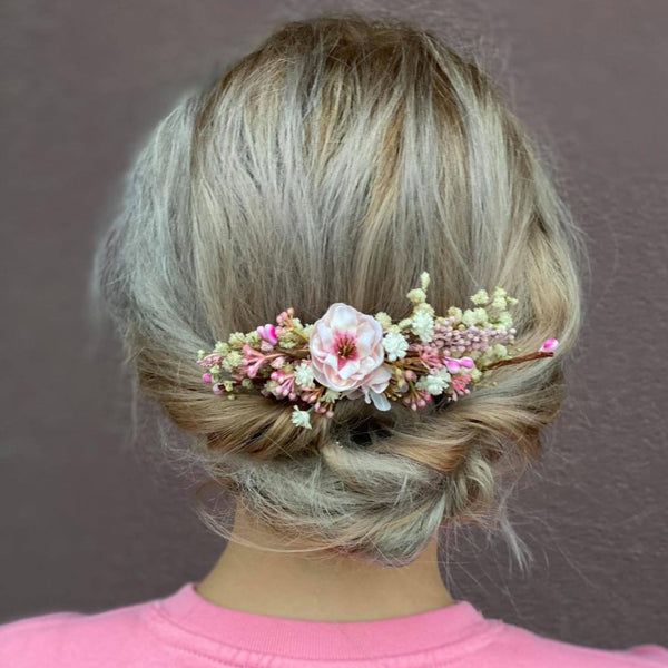 Blush and ivory flower hair comb Customisable Cherry blossom Wedding hair comb Bridal accessories Small flower comb Magaela Natural