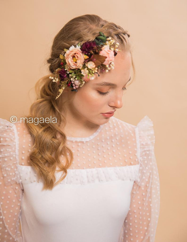 Preserved yellow  flowers halo for a boho bride