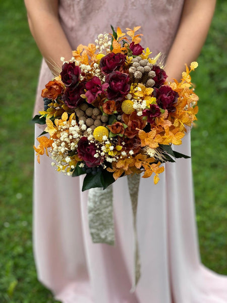 Autumn wedding bouquet Burgundy and orange bridal bouquet Ochre wedding bouquet Magaela accessories Bouquet for bride Fall wedding Handmade