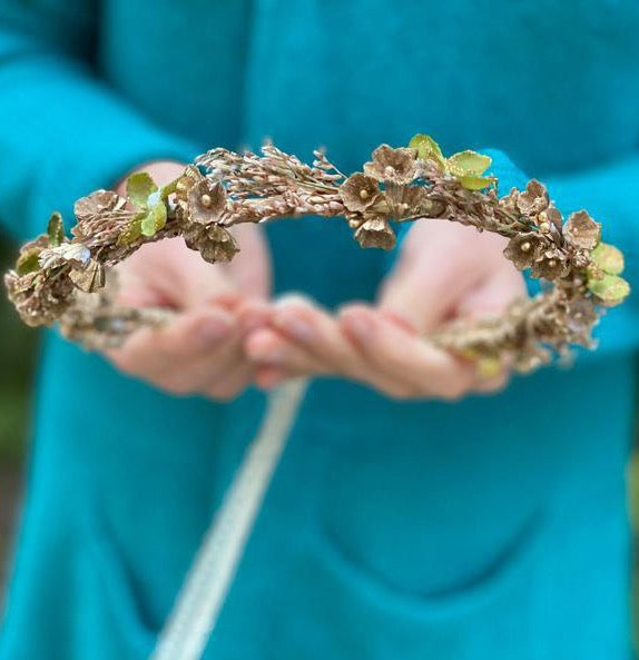 SALE Natural flower half wreath Wedding hair crown Golden flower wreath Children wreath Autumn flower wreath Earthy autumn wreath Magaela
