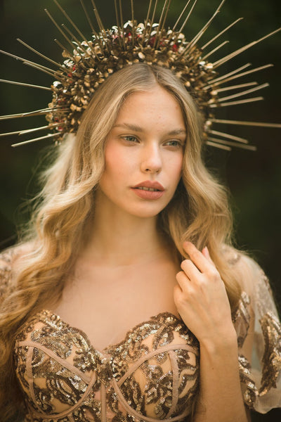 Two sided halo head crown Sun crown Headband Goddess Wedding Bridal halo crown Photoshoot hair wreath Spike golden crown Beyonce Magaela