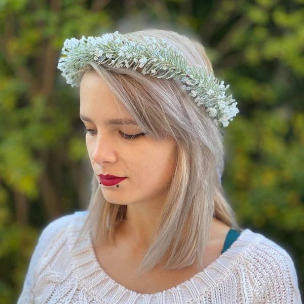 SALE Winter frozen wreath Flower crown with pine needles Christmas Wreath for bride Christmas wreath Magaela Green and white Magaela Natural