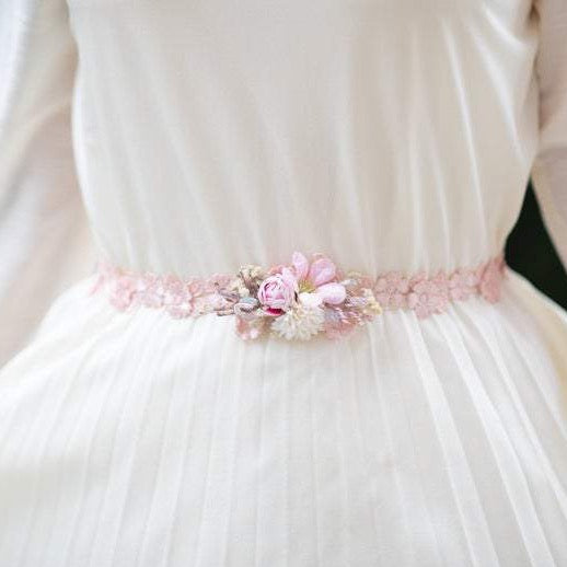 SALE Pink wedding floral belt Simple blush flower belt Wedding accessories Magaela accessories Handmade product Belt for brides Bridal sash