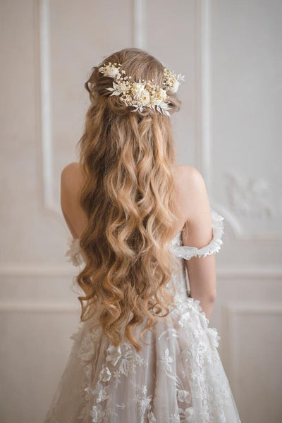 Shapeable ivory wedding flower hair vine with preserved flowers White wedding headpiece Bridal hair flowers Off white hair vine