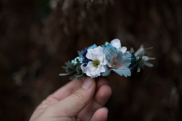Flower hair clip Hair clip inspirated by autumn Romantic hair clip Hair clip in blue Hair accessories