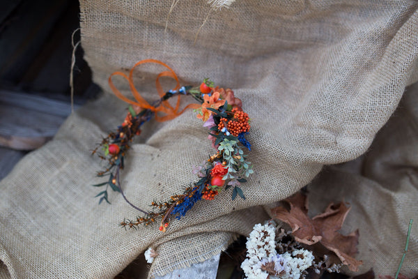 flower crown autumn hair wreath romantic orange blue green wedding crown bridal headpiece woodland headwreath hair flowers wedding crown