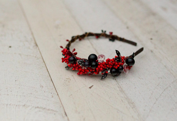 Red floral headband with crystals Berries winter headband Christmas headband Headband with forest berries Winter collection Hair accessories