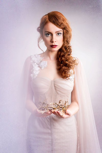 Golden crown  Bridal wreath Crown for the bride Golden wreath Hair jewellery